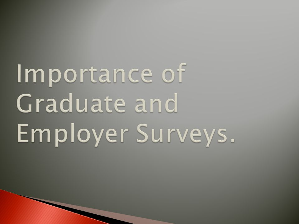 Importance of Graduate and Employer Surveys.