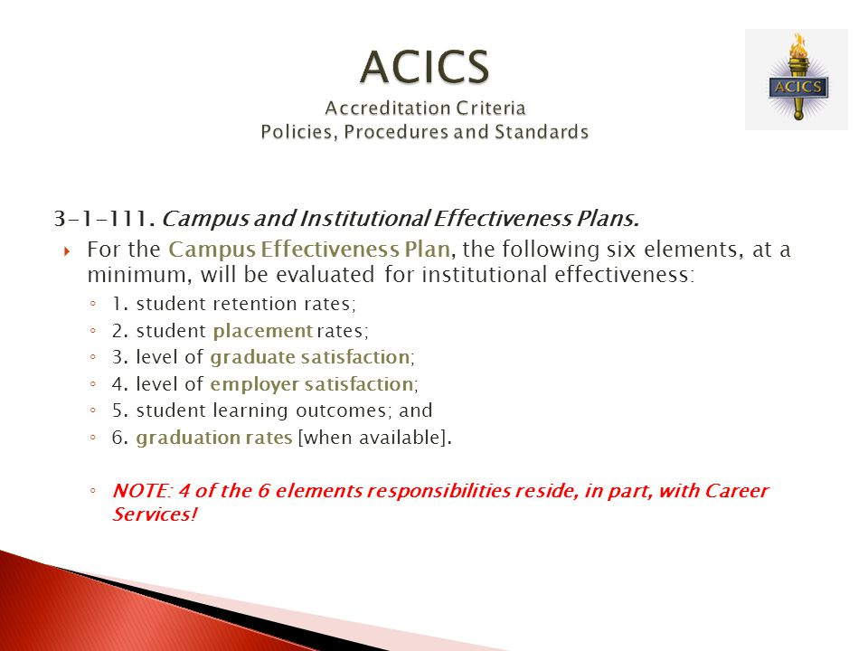 ACICS Accreditation Criteria Policies, Procedures and Standards