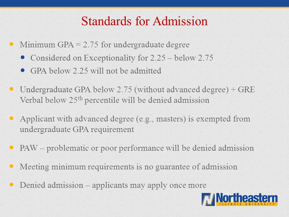 Standards for Admission