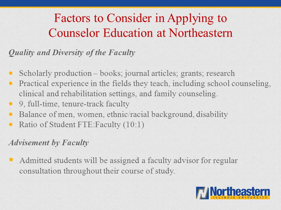 Factors to Consider in Applying to Counselor Education at Northeastern