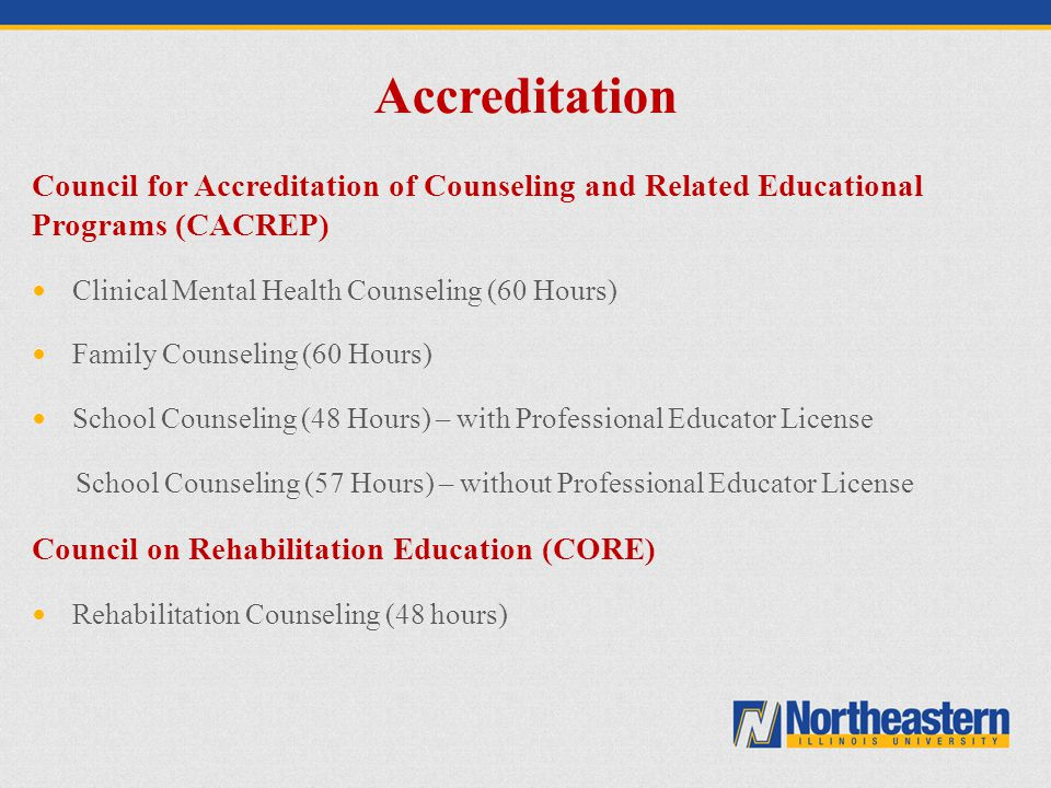 Accreditation Council for Accreditation of Counseling and Related Educational Programs (CACREP) Clinical Mental Health Counseling (60 Hours)