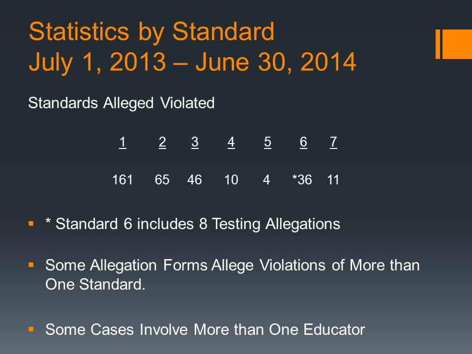 Statistics by Standard July 1, 2013 – June 30, 2014
