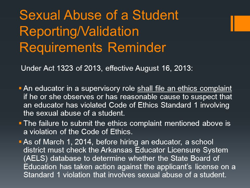 Sexual Abuse of a Student Reporting/Validation Requirements Reminder