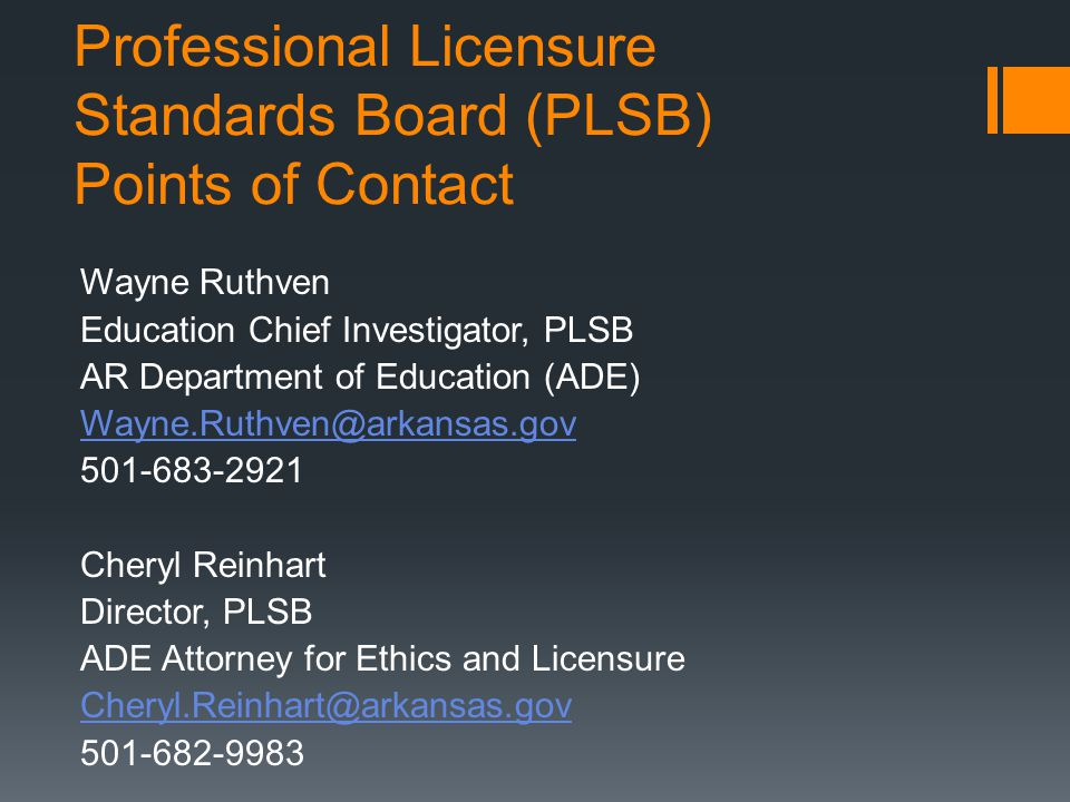 Professional Licensure Standards Board (PLSB) Points of Contact