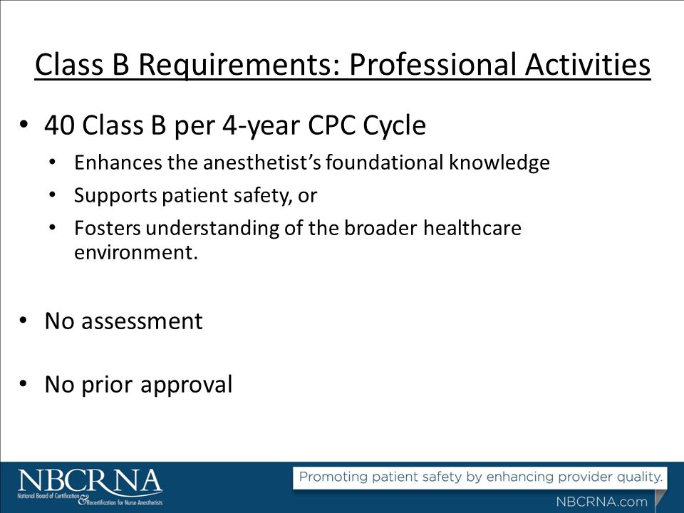 Class B Requirements: Professional Activities