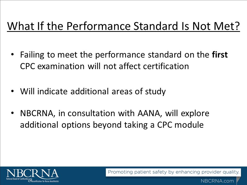 What If the Performance Standard Is Not Met