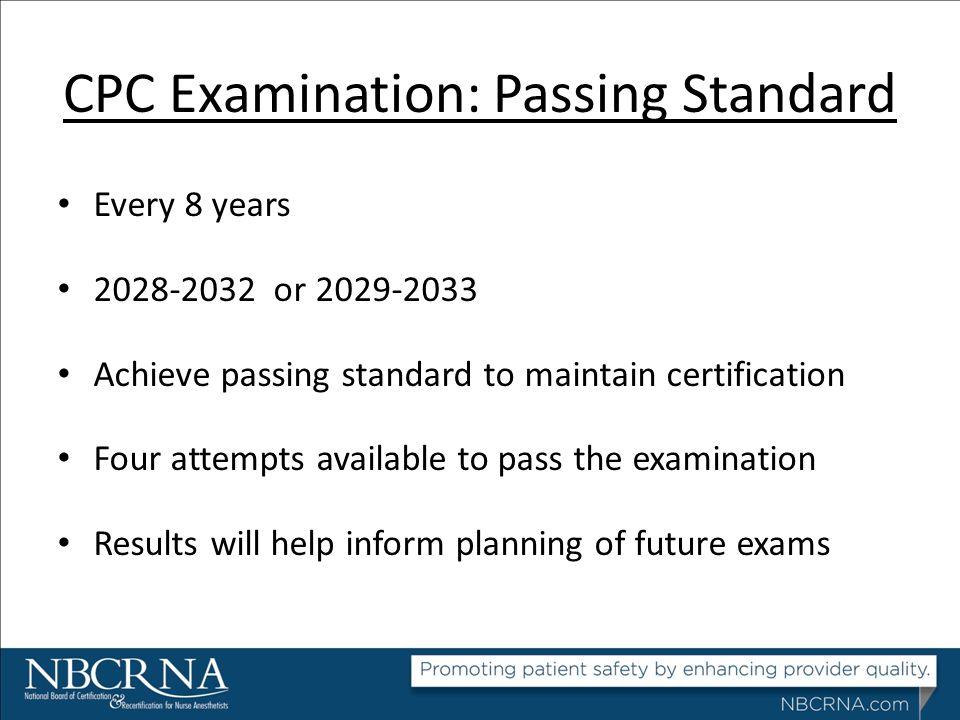 CPC Examination: Passing Standard