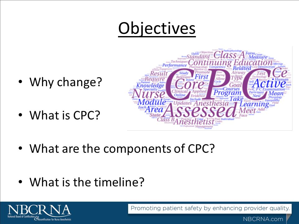 Objectives Why change What is CPC What are the components of CPC