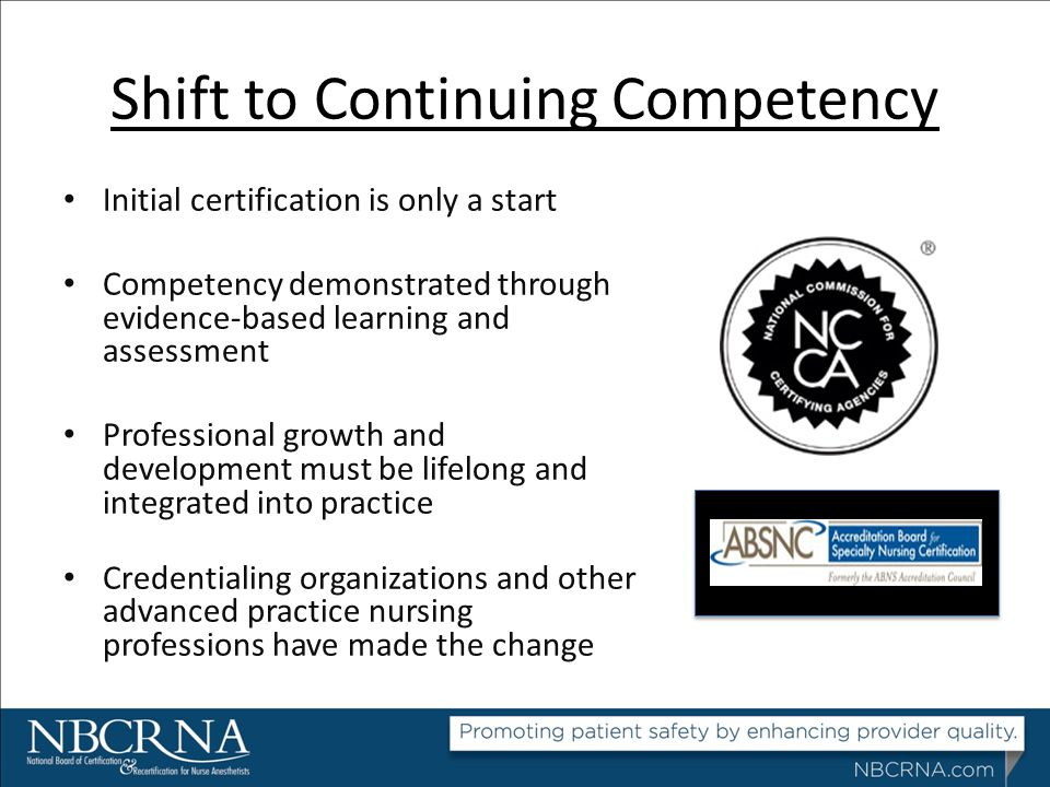 Shift to Continuing Competency