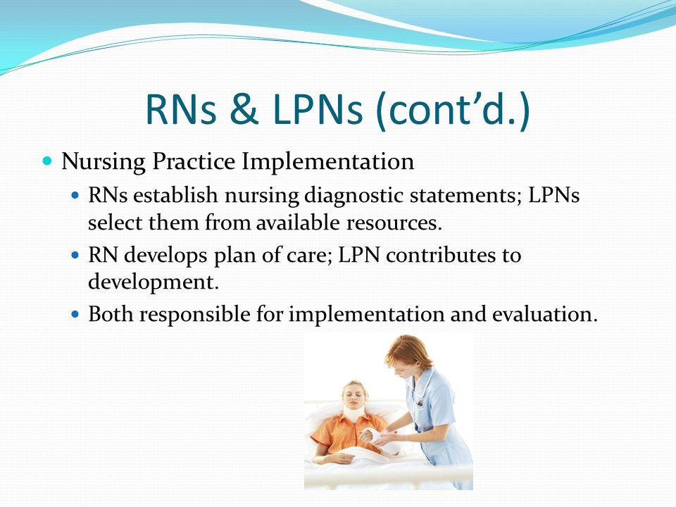 RNs & LPNs (cont'd.) Nursing Practice Implementation