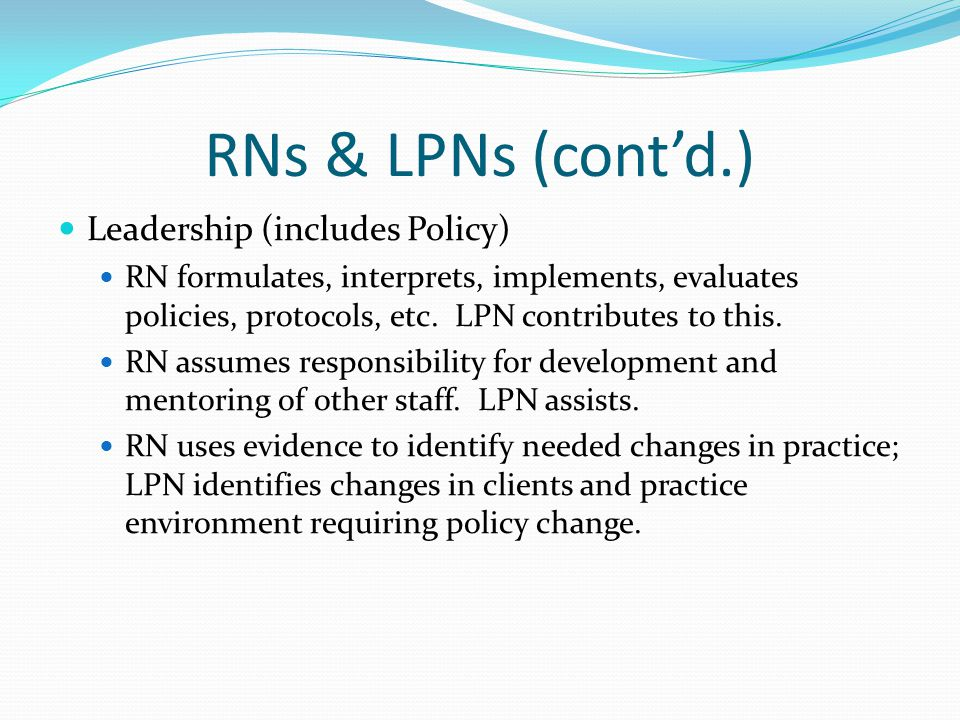 RNs & LPNs (cont'd.) Leadership (includes Policy)