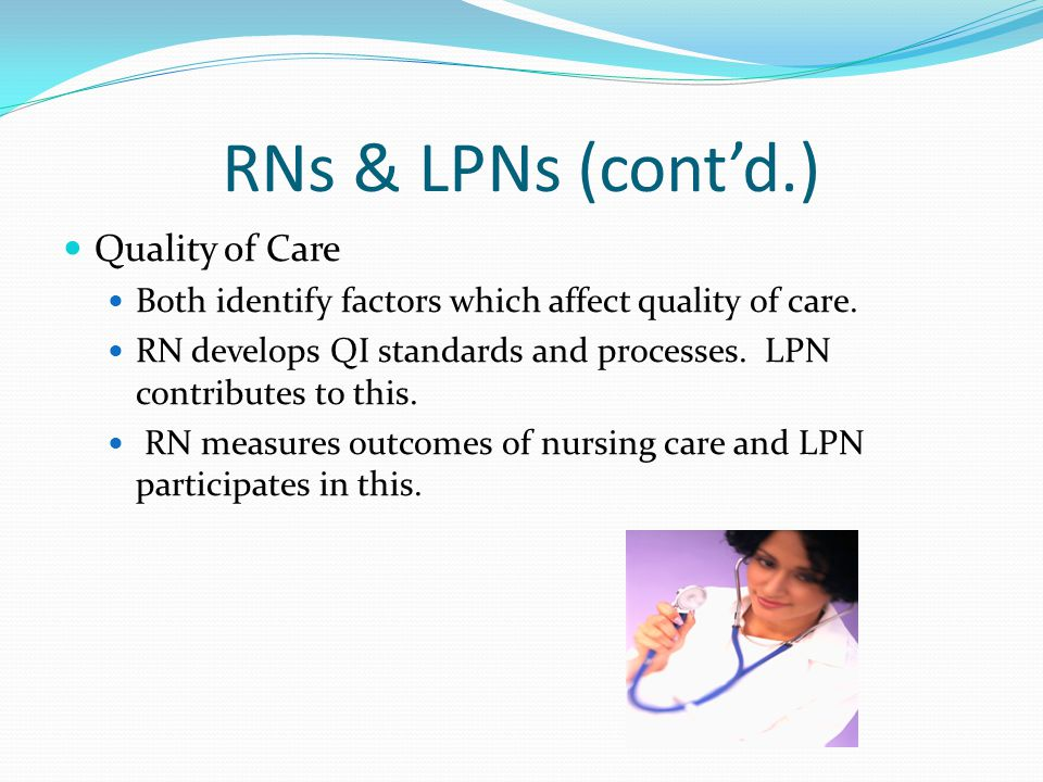 RNs & LPNs (cont'd.) Quality of Care