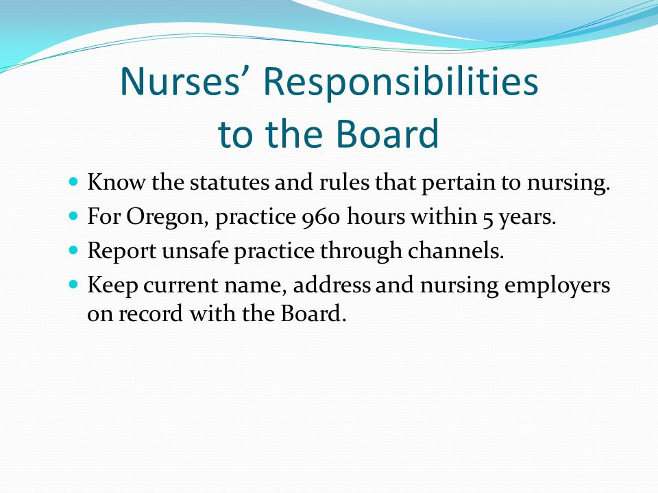 Nurses' Responsibilities to the Board