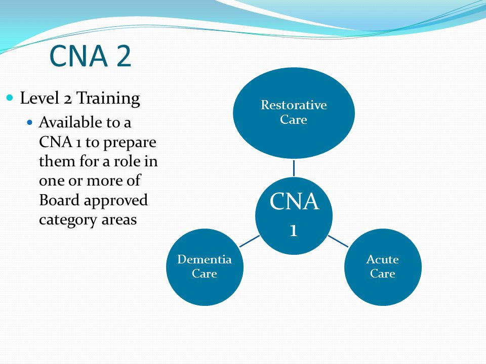 CNA 2 CNA 1. Restorative Care. Acute Care. Dementia Care. Level 2 Training.