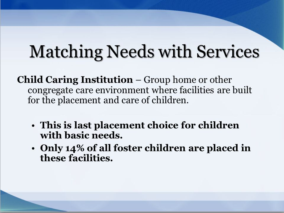 Matching Needs with Services