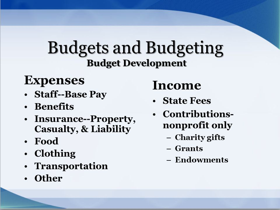 Budgets and Budgeting Budget Development
