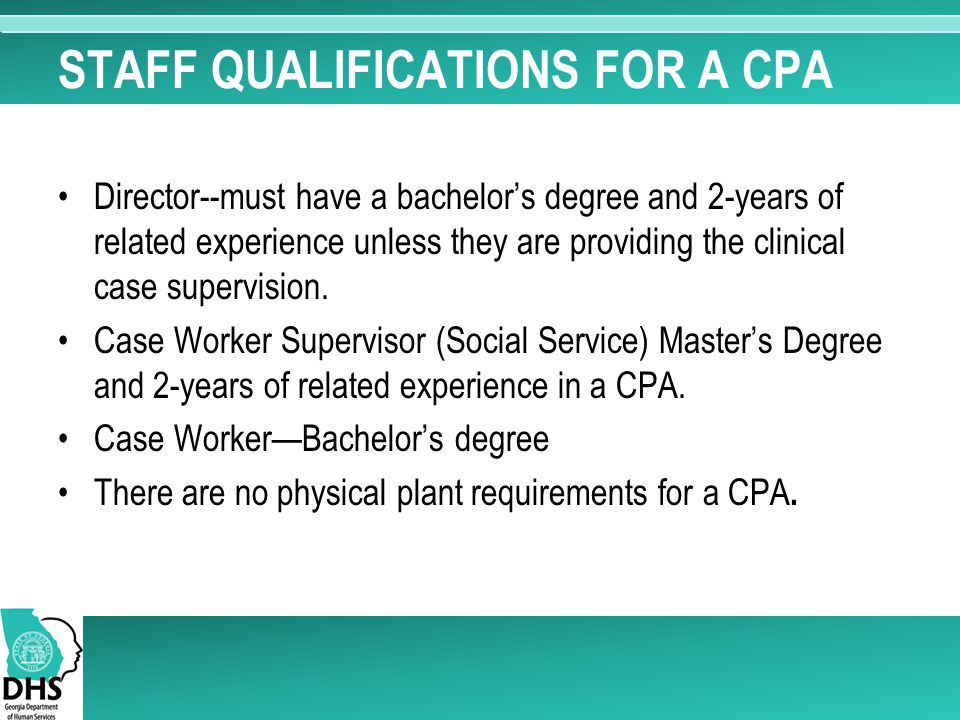 STAFF QUALIFICATIONS FOR A CPA