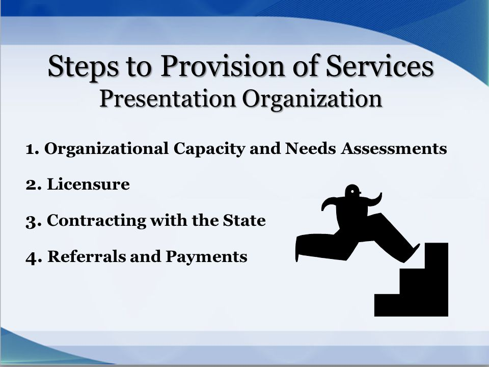 Steps to Provision of Services Presentation Organization