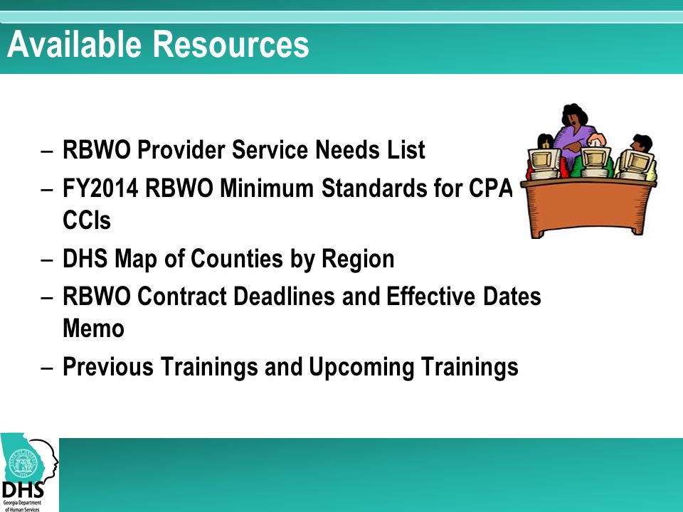 Available Resources RBWO Provider Service Needs List