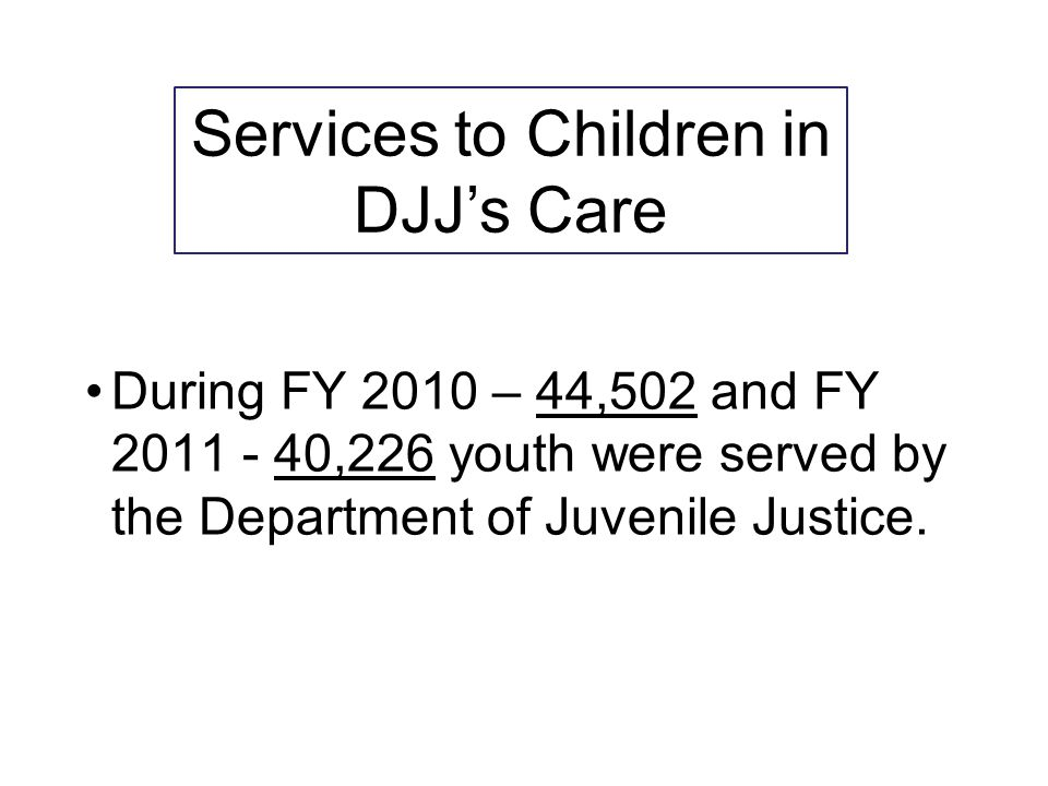 Services to Children in DJJ's Care