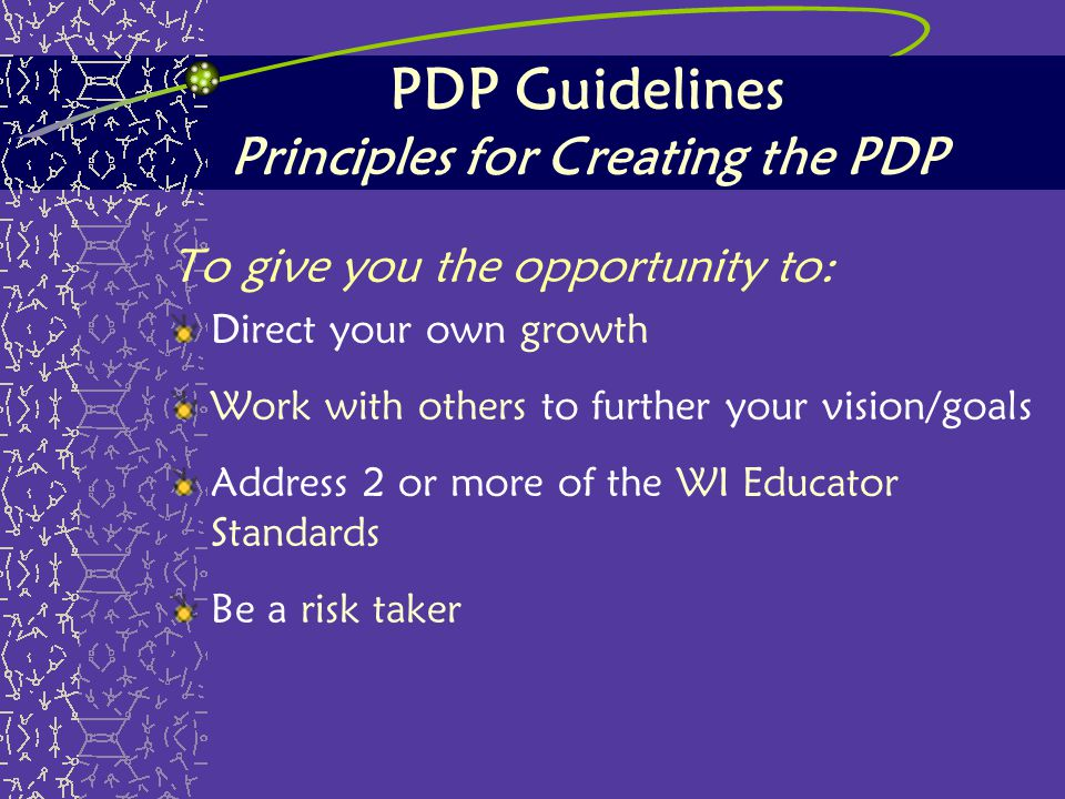 PDP Guidelines Principles for Creating the PDP