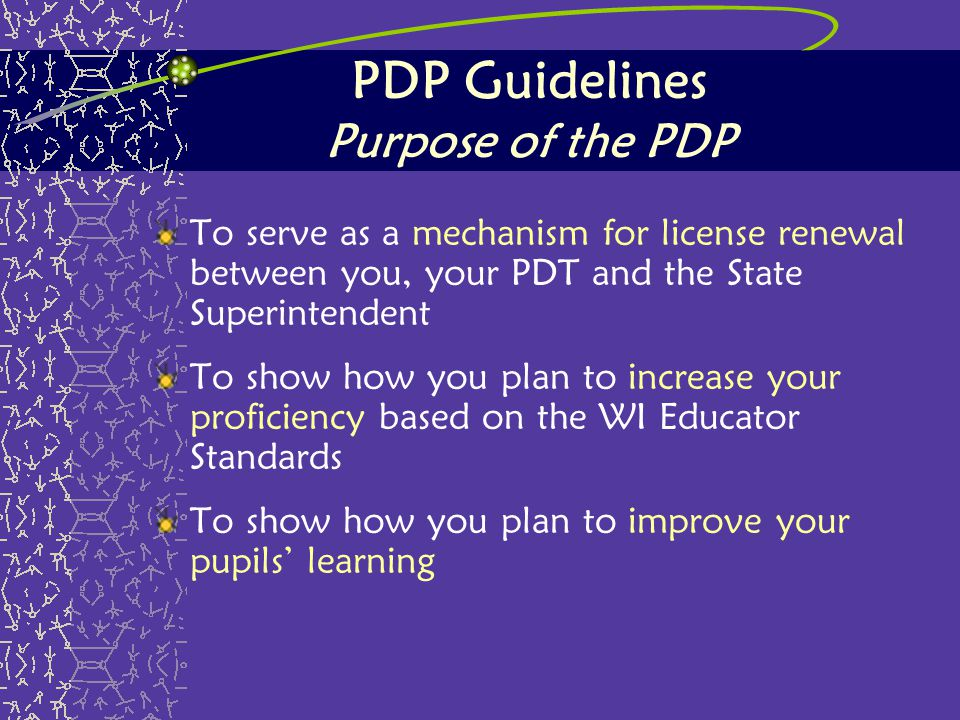 PDP Guidelines Purpose of the PDP