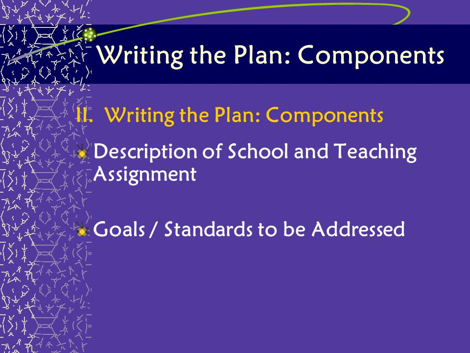 Writing the Plan: Components