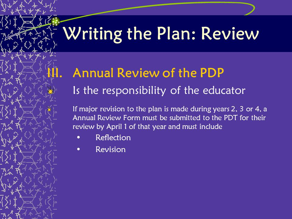 Writing the Plan: Review