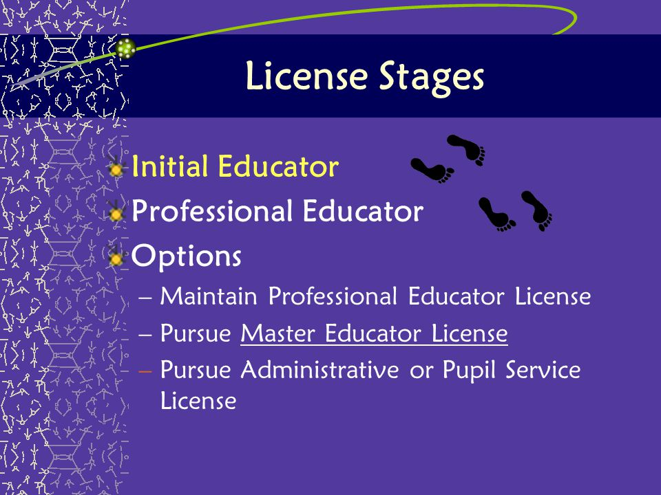 License Stages Initial Educator Professional Educator Options