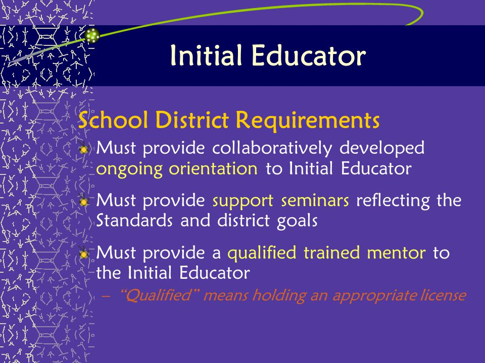 Initial Educator School District Requirements