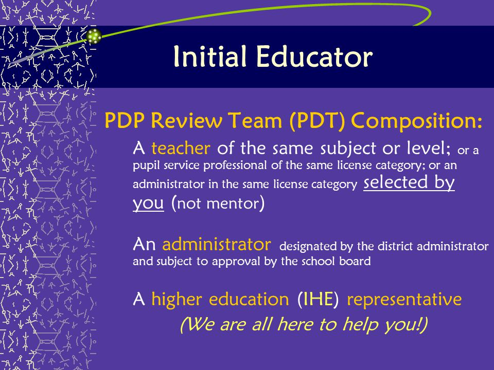 Initial Educator PDP Review Team (PDT) Composition: