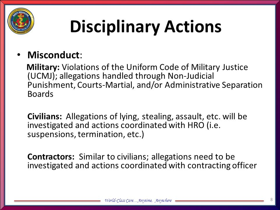 Disciplinary Actions Misconduct: