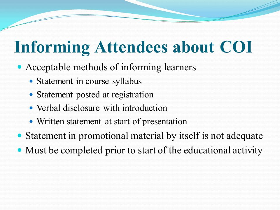 Informing Attendees about COI