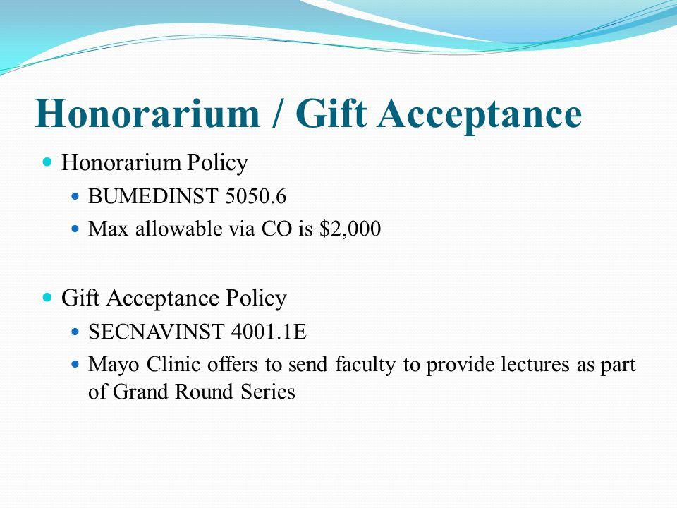 Honorarium / Gift Acceptance