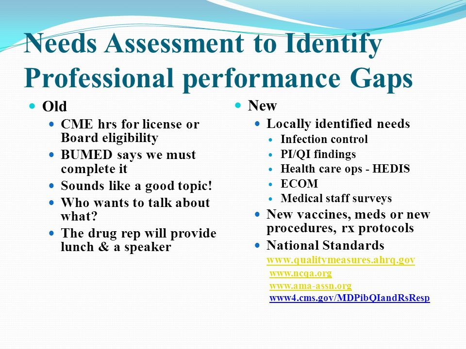 Needs Assessment to Identify Professional performance Gaps