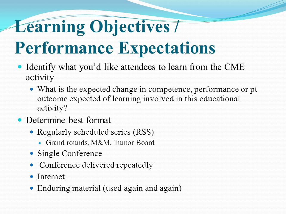 Learning Objectives / Performance Expectations