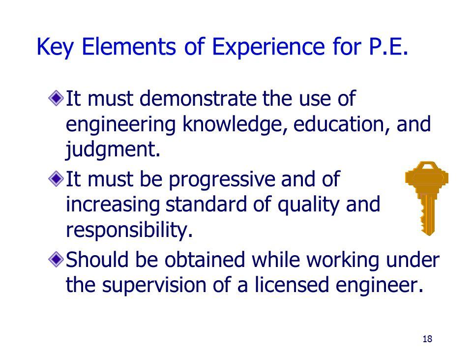 Key Elements of Experience for P.E.