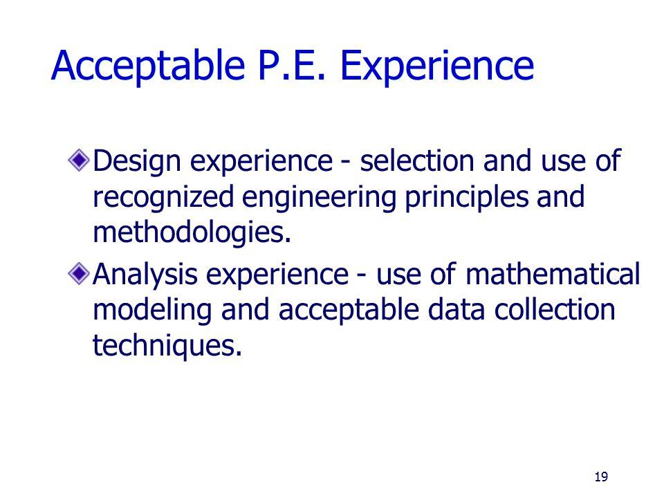 Acceptable P.E. Experience