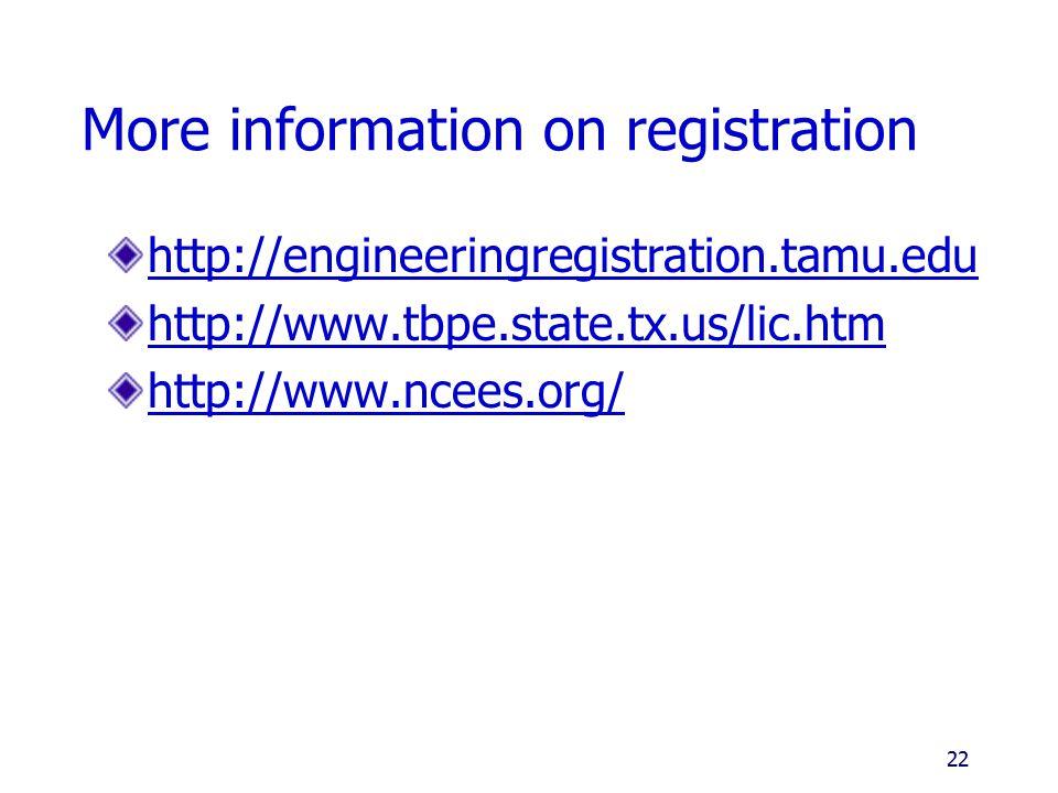 More information on registration