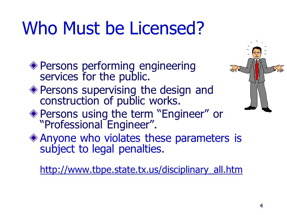 Who Must be Licensed Persons performing engineering services for the public. Persons supervising the design and construction of public works.