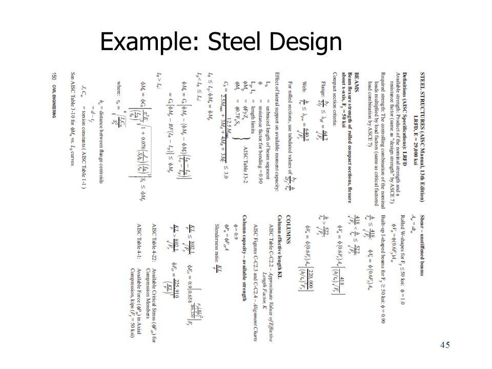 Example: Steel Design
