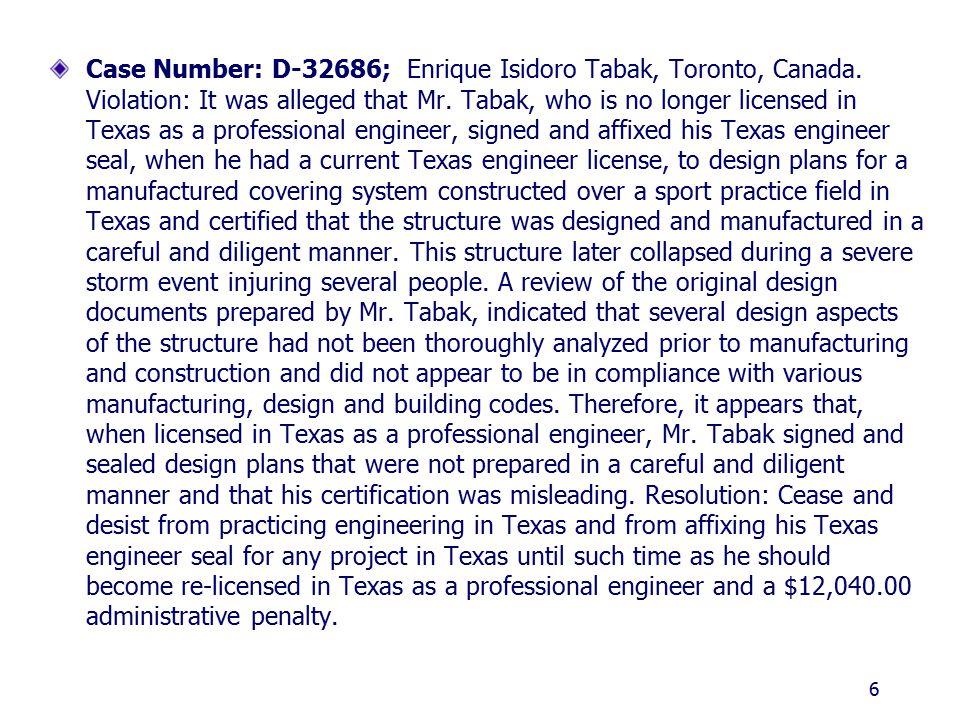 Case Number: D-32686; Enrique Isidoro Tabak, Toronto, Canada