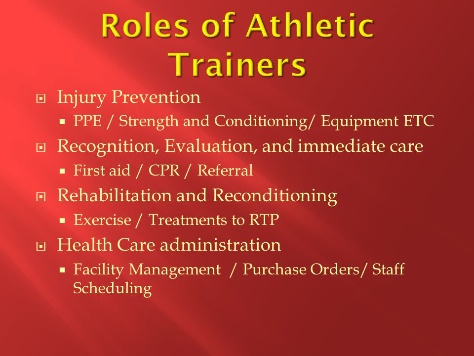 Roles of Athletic Trainers