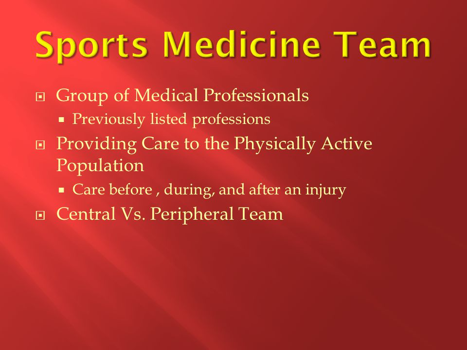 Sports Medicine Team Group of Medical Professionals