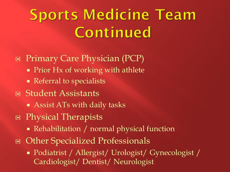 Sports Medicine Team Continued