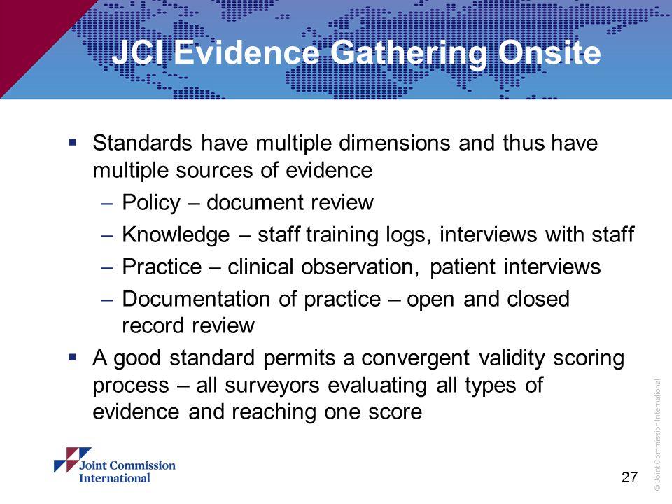 JCI Evidence Gathering Onsite