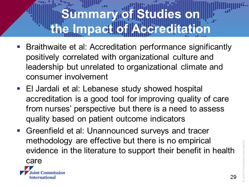 Summary of Studies on the Impact of Accreditation