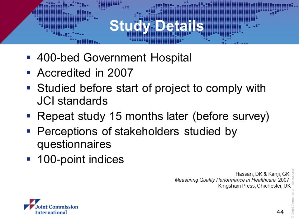Study Details 400-bed Government Hospital Accredited in 2007