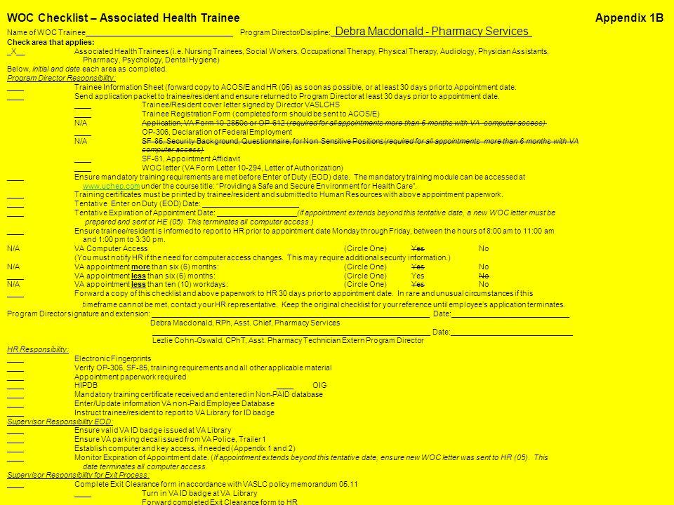 WOC Checklist – Associated Health Trainee Appendix 1B