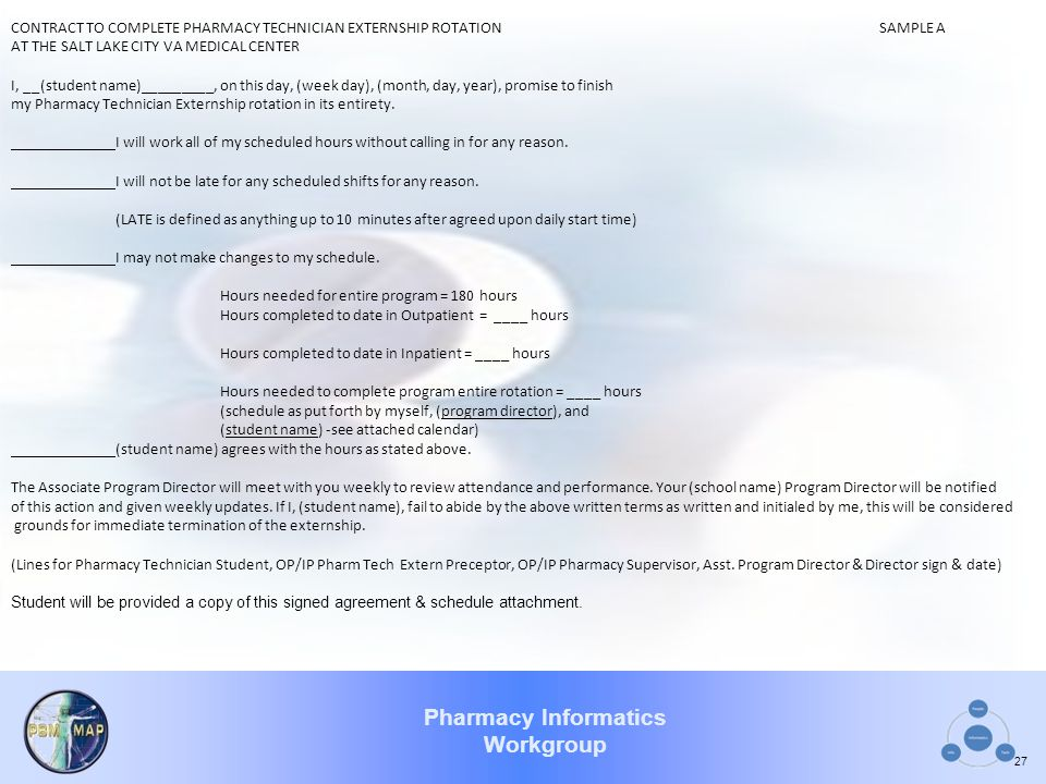 CONTRACT TO COMPLETE PHARMACY TECHNICIAN EXTERNSHIP ROTATION SAMPLE A